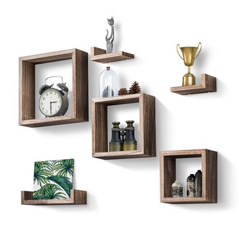 Rustic Wall Mounted Wood Storage Shelves Decorations Floating