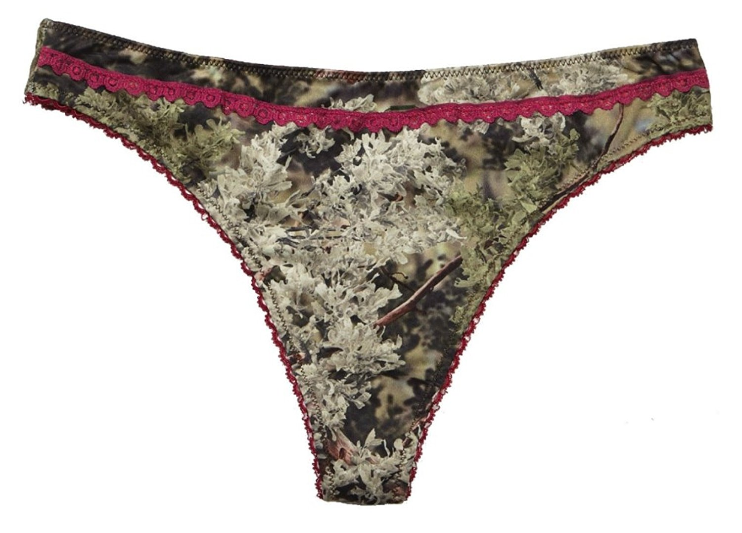 7626355b81 Get Quotations · Women s Thong Panty Kings Camo With Cranberry Accents