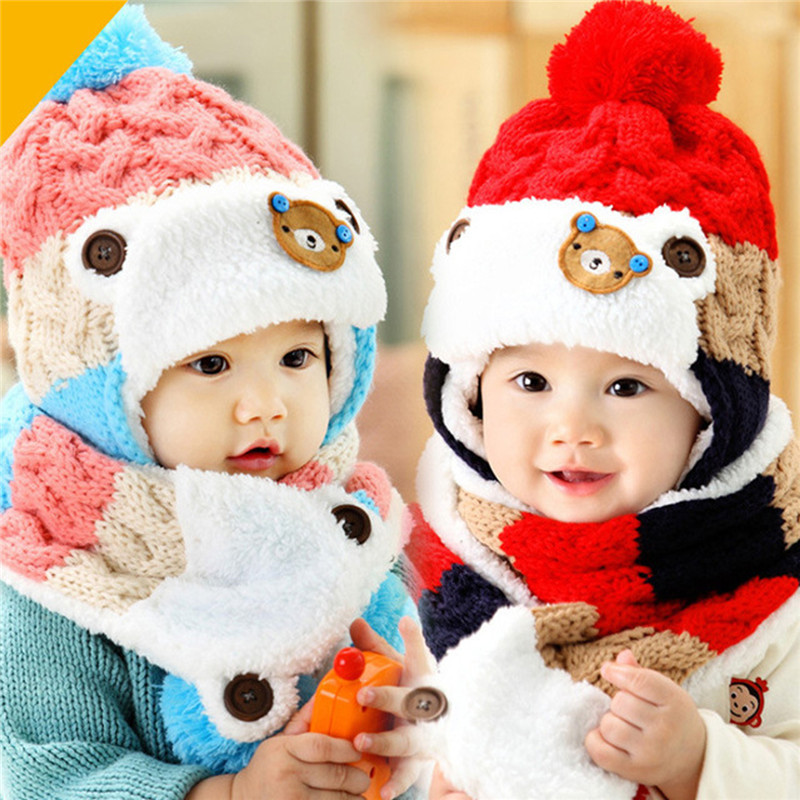 2018 Autumn Winter Children Hat Scarf Set Crochet Baby Hat Girls Boys Caps Cartoon Baby Boy Cap Scarf Sets Kids Child Hats Scarf Selling Well All Over The World Apparel Accessories