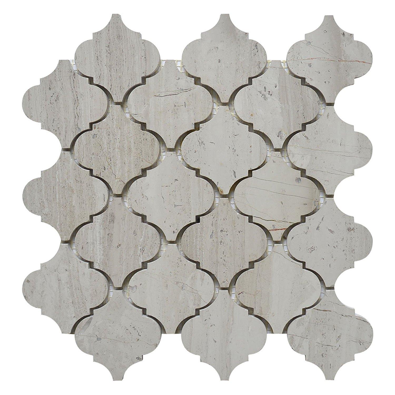 "Marble Mosaic Tile, ""Lantern Collection"", White Oak MM9202 Size: 10 1/2""X12"" Polished"