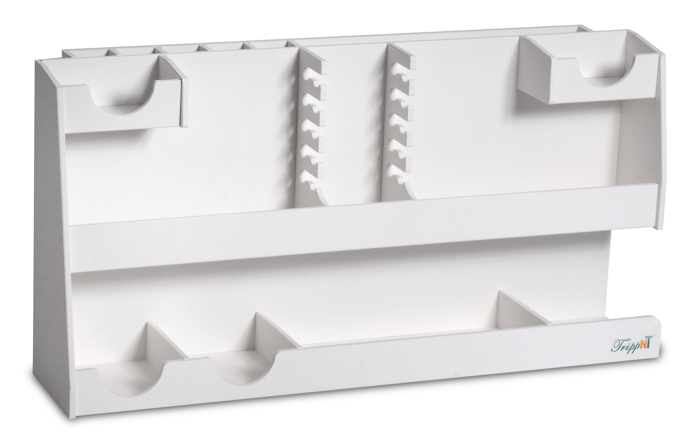 "TrippNT 50664 PVC Plastic White Personal Bench Top HPLC Supplies Organizer, 24"" Width x 12"" Height x 6"" Depth"