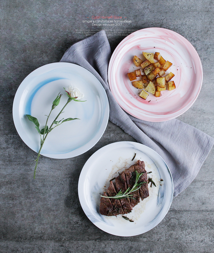 Haonai hand painted marble beefsteak plate dishes.
