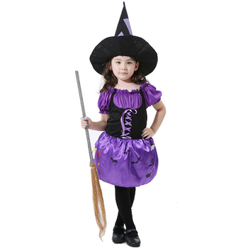 Halloween Girls Cosplay Dress Witch Dresses Sharp Hats Set Children Party Ruffles Purple Dress Holiday Performance Clothing