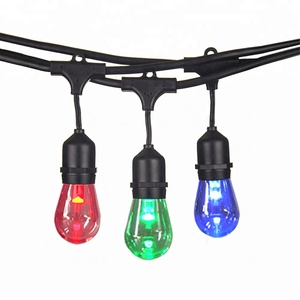 Chinlighting RC color change 24ft 12 socket RGBW Plastic bulb LED RGB S14 String Light