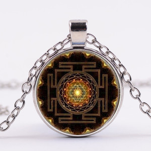 Wholesale Sacred Geometry Sri Yantra Jewelry Fashion 2017 Buddhist Sri Yantra Pendant Necklace
