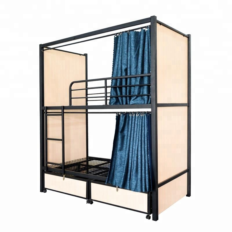 Latest Design Hotel School Dorm Metal Bunk Bed With Storage Cabinet Iron Bed With Curtains Metal Frame Bunk Beds Buy School Beds Used Metal Secret Double Decker Bunk Bed With Curtain For Hostel