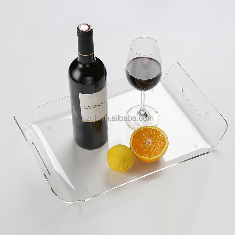 custom high end non-slip acrylic serving trays wholesale