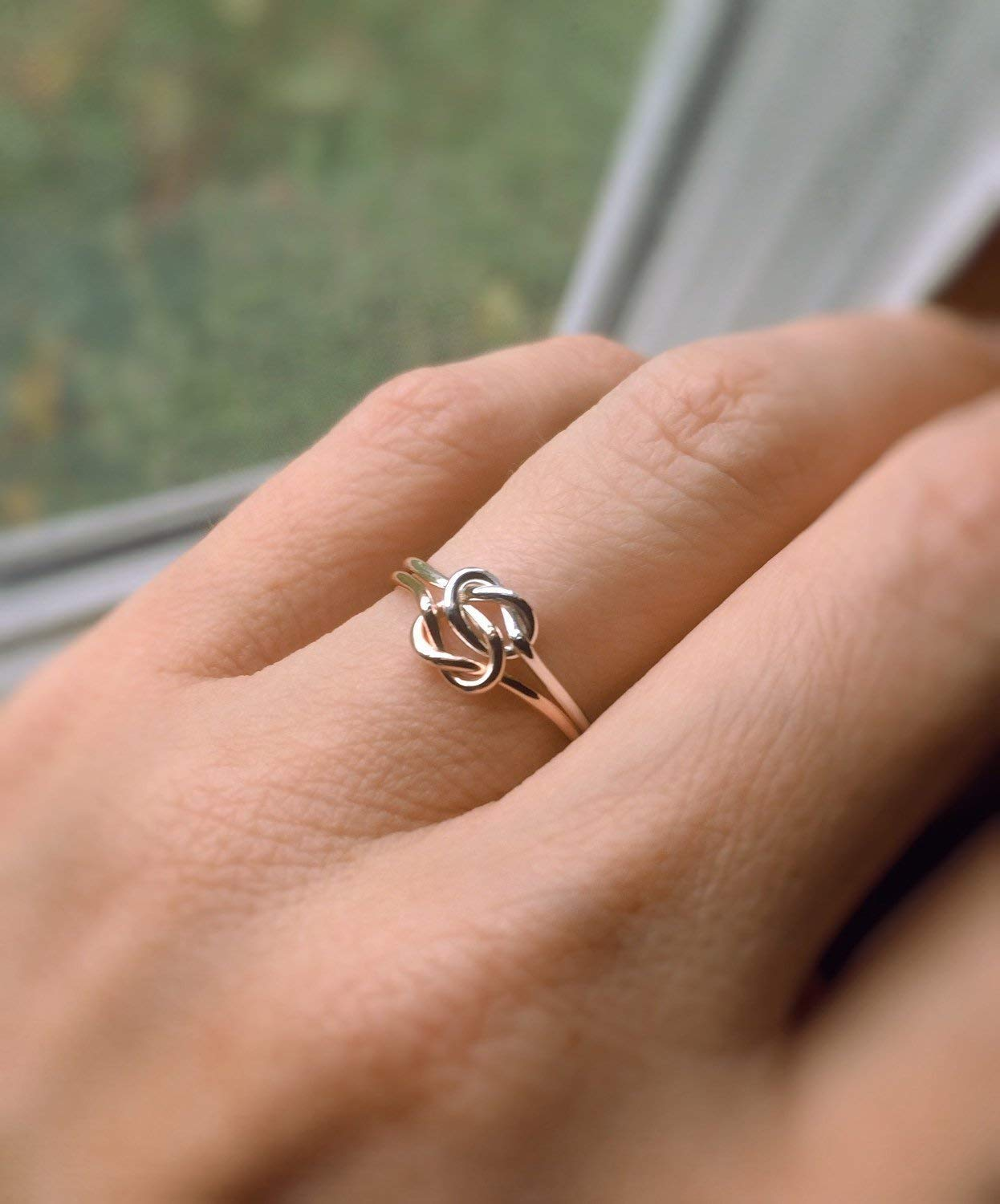 419f2120b Get Quotations · Double Knot Ring, Knot Rings, Minimalist Love Rings, Tie  the Knot Rings,