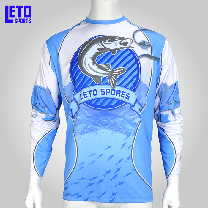 Men's Full Dye Sublimation Crew Neck UV Protection UPF 50 Fishing Shirt Jersey