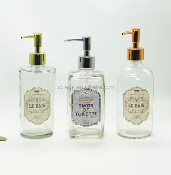 Antique Style Gl Lotion Soap Dispenser With Pump And Decorative Printing