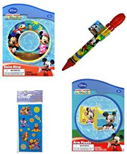 "Mickey Mouse Kids Swimming Pool Toys (4 Pieces): Mickey Mouse Swim Ring (20""), Mickey Mouse Water Blaster (11""), Mickey Mouse Arm Floaties (7""), and Winnie the Pooh Sticker Set (4 Sheets 3""x6"") - 4 Item Bundle"
