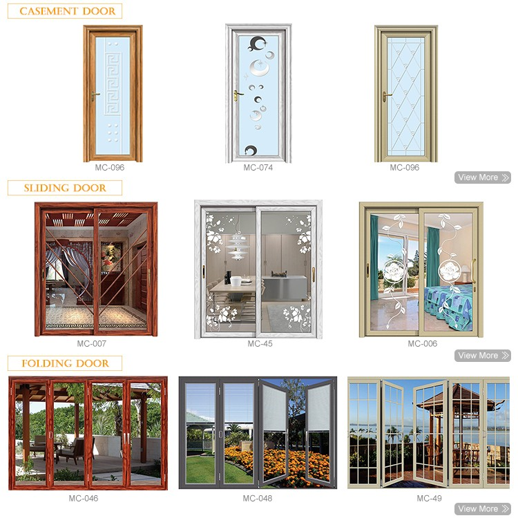 Aluminium alloy frame tempered modern interior bathroom wooden door with elegant glass design
