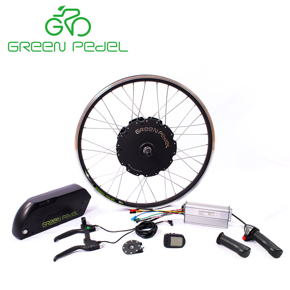 Greenpedel 48v 1.5kw electric bicycle motor kit with lithium battery and torque sensor, Silver/ black