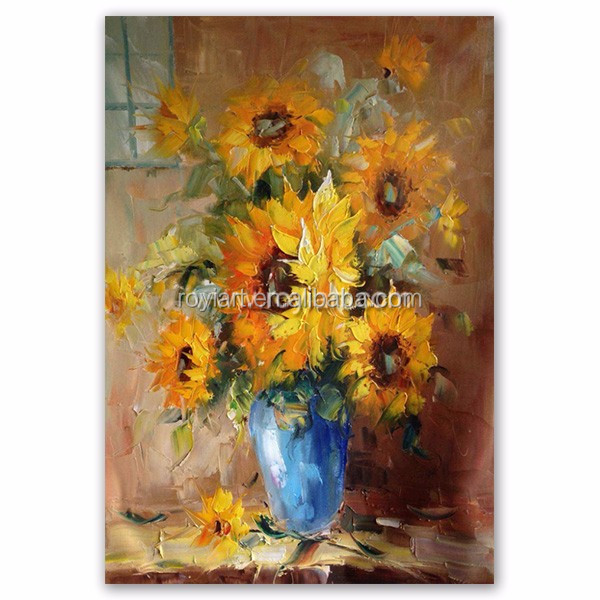 ROYI ART Oil Flower Painting by heavy knife pallet