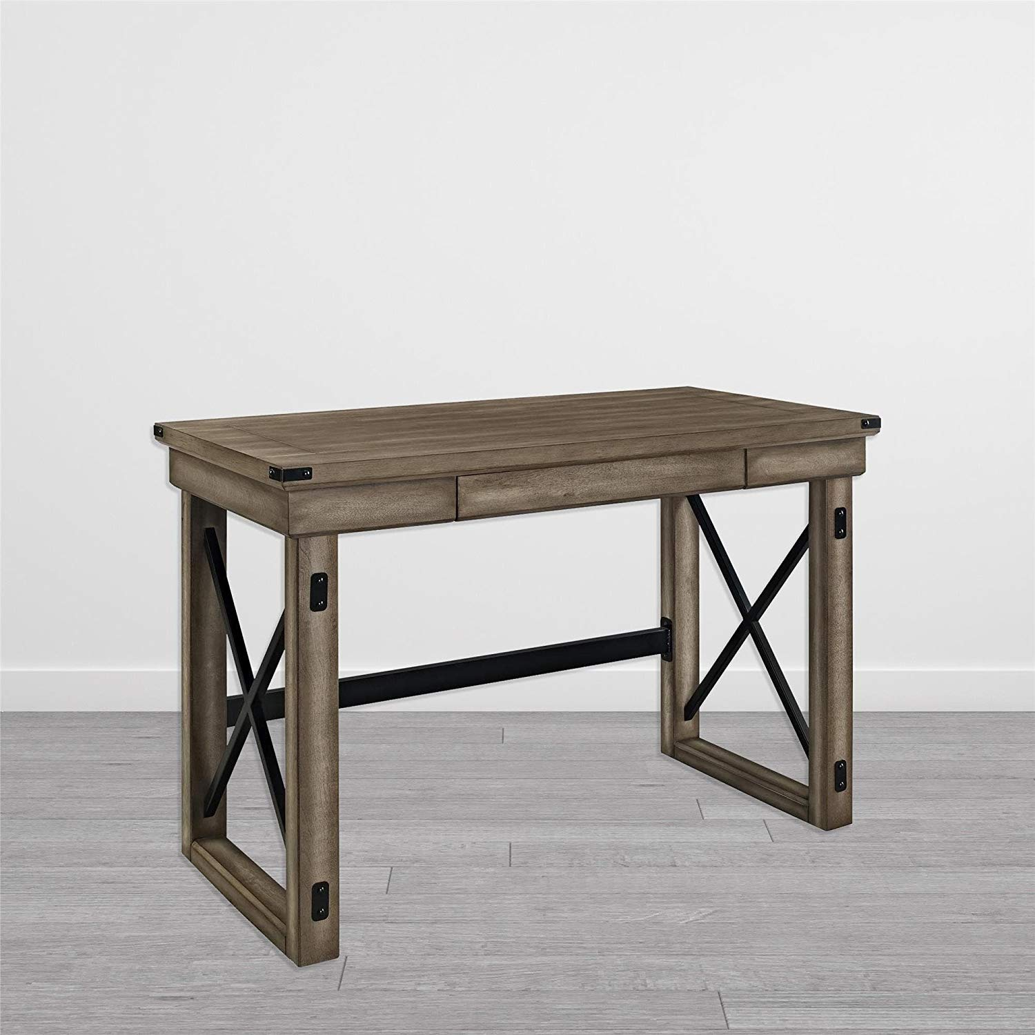 Sturdy Rustic Style Veneer Desk, Crisscross Pattern, Wood Veneer and Metal Construction, Solid and Durable, Assembly Required, Light Brown Woodgrain Finish with Gray Undertones and Black Accents
