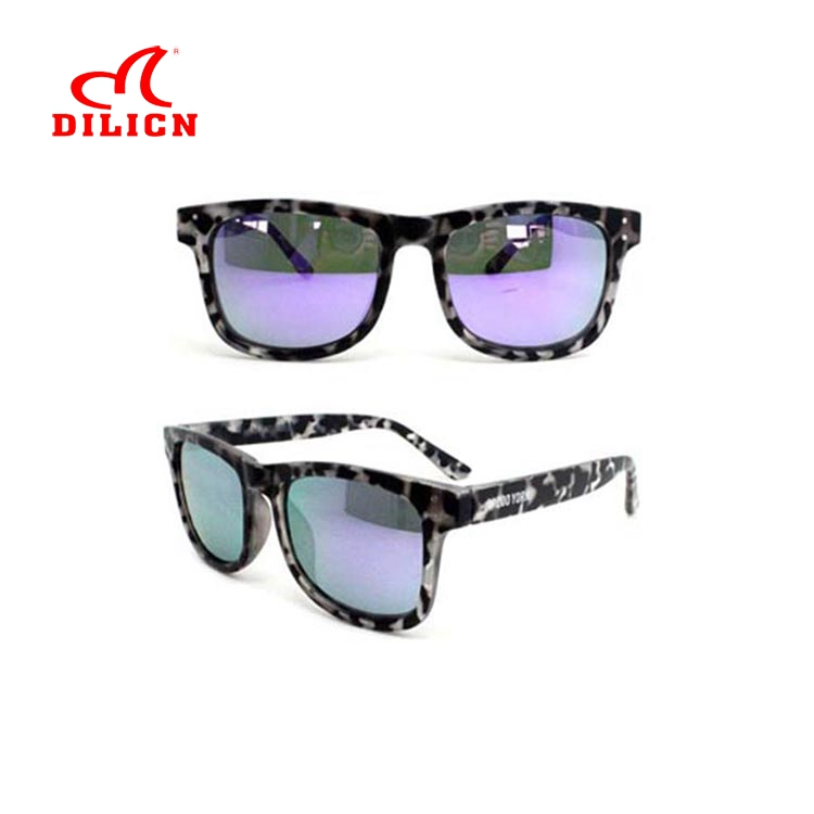 Fashion design unisex neon purple mirrored lens floating sunglasses