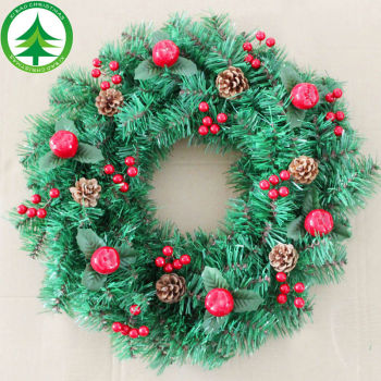 wholesale artificial crabapple pinecone plastic christmas wreaths decorations picks decoration christmas wreath decoration - Artificial Christmas Wreaths Decorated