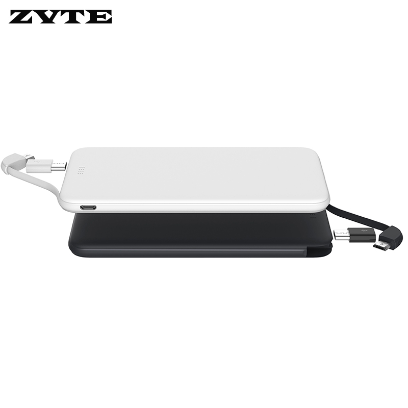 built in cable ultra thin best sale portable power bank 5000mAh