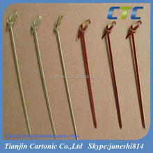 Natural And Red Color Bamboo Knotted Skewers/BBQ Skewers