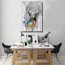 Wall Art Decorative colorful bison Modern Abstract Spray painting On Board and Original Canvas