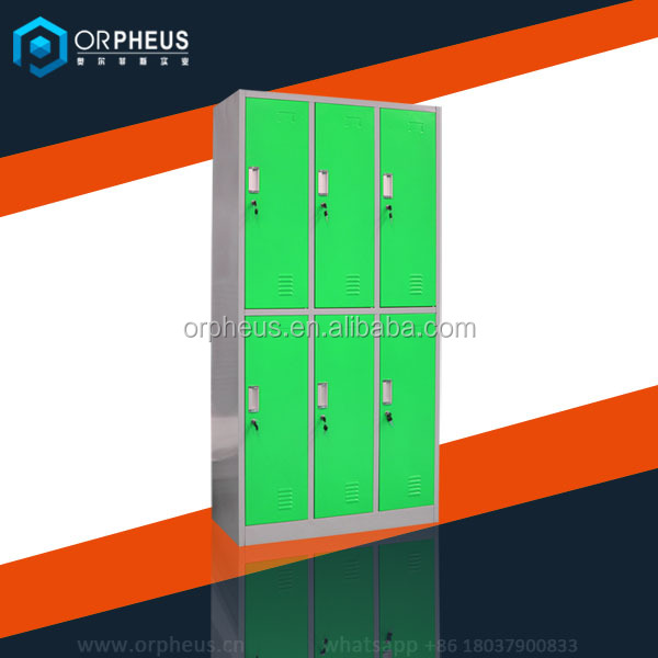 Pre-assembled Metal 6 Door Lockers Design China Made Electronic 3 Column Safe Lockers