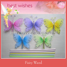 Glitter printing bead nylon Butterfly fairy wand with spring