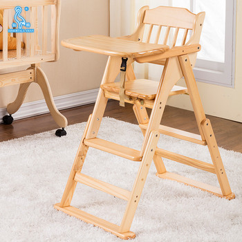 Wholesale Portable Folding Solid Wood Baby High Chair For Feeding