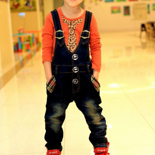 TBX11006 Children trousers Korean stye solid color denim with hood children trousers braces