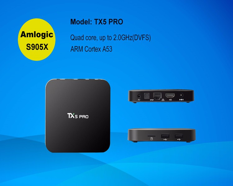 Customized logo android tv box webcam amlogic S905X ott tv box TX5 Pro 2/16gb,5G WIFI S905X media palyer
