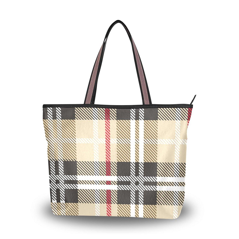 0c6d10513b Get Quotations · Women Top Handle Handbag Large Tote Bag Scottish Black  White Cream Check Shopping Travel Shoulder Bag