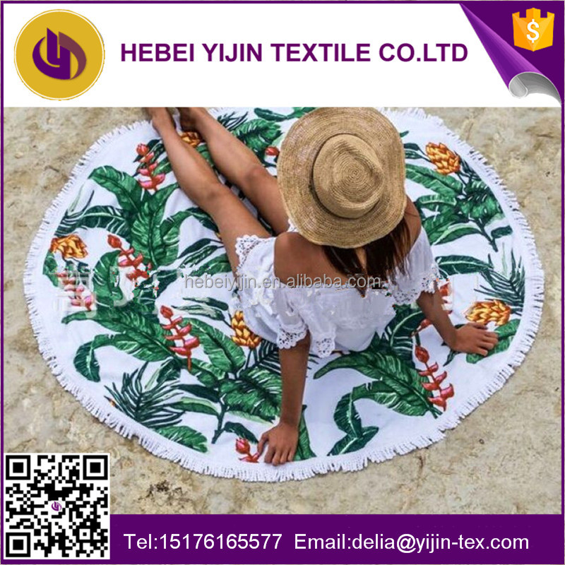 2016 Hot sale turkish printed round beach <strong>towel</strong> with tassel