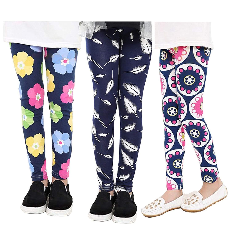 242ca8979 Get Quotations · BOOPH Girls Leggings 3-Pack Soft Stretchy Baby Toddler  Flower Star Rainbow Stripe Kids Girl