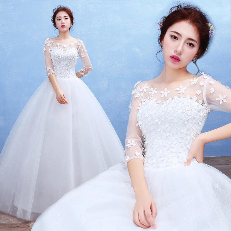6039009d6d7 Princesse Blanc fleur décorer Robe De Bal Robes De Mariée Demi Manches  Longues Robe ...