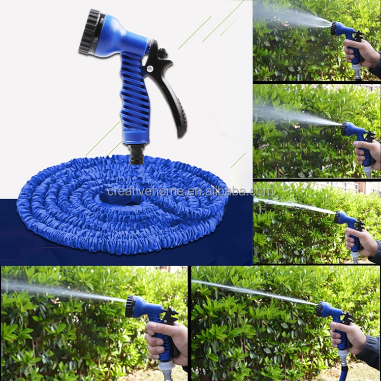 Dropshipping 25FT Telescopic Pipe Expandable Magic Flexible Garden Watering Hose irrigation sprinkler with Spray Gun Set(Blue)