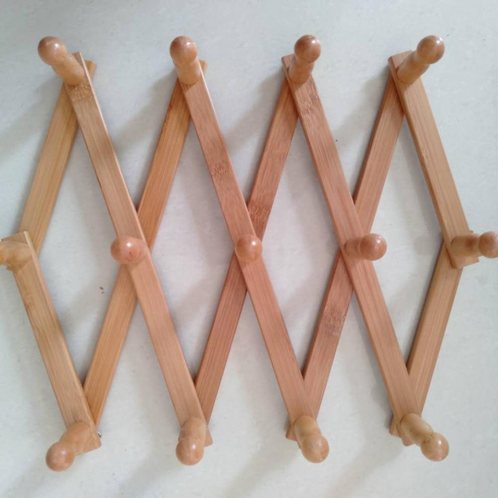 Accordion Style Bamboo Wood Expandable Wall Racks - Each Has 13 Pegs For Hat, Cap, Belt, Umbrella Coffee Mug Jewelry Hanging