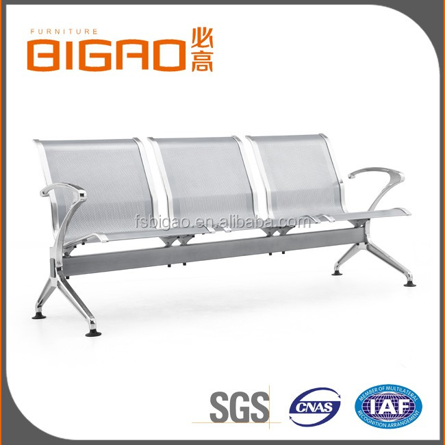 BIGAO Sliver Competitive Price Durable Pundched Steel Plate Hospital Chair In Waiting Room With 3-seater &2 Armrests