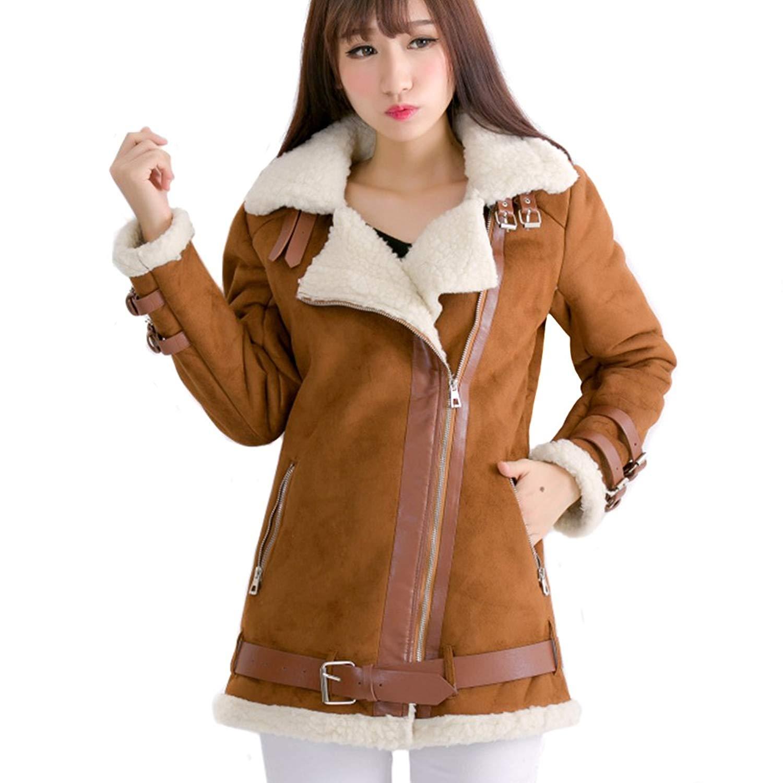 LOCOMO Women Brown Faux Suede Fur Lined Zipper Aviator Biker Coat FFJ018L