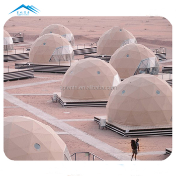 Customized geodesic house eco hotel resort desert dome tent 6/7/8m tourism for people accomodation