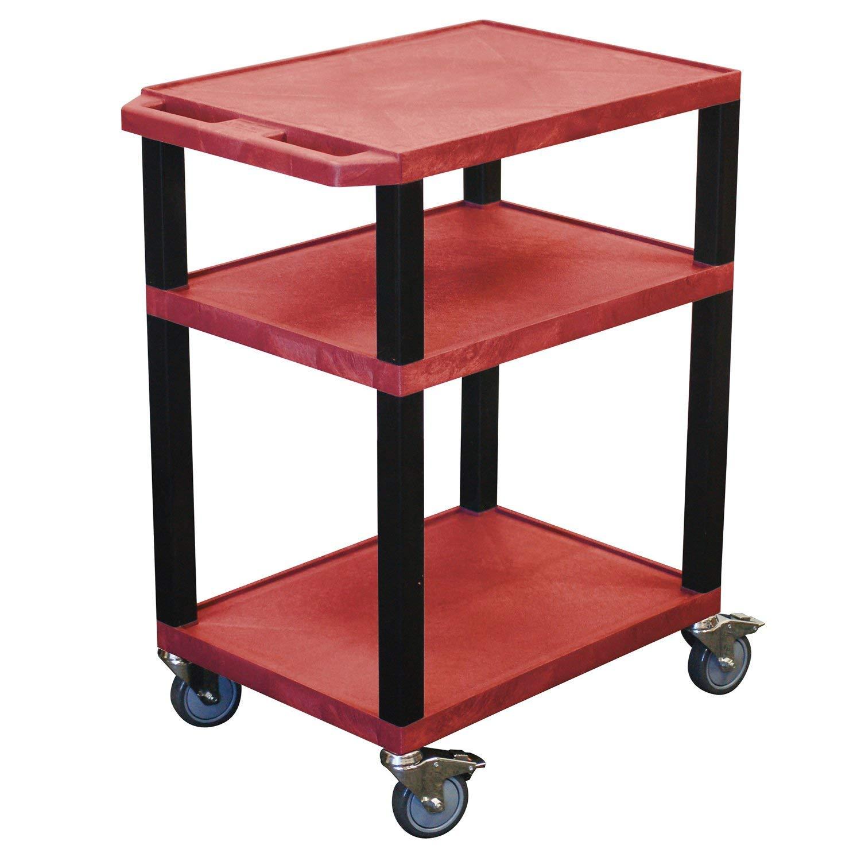 Offex Clickhere2shop Mobile Multipurpose 3-Shelves Tuffy AV Cart, Red with Black Legs (OF-WT34RE-B)
