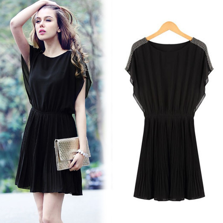 Latest Casual Lace Dress Elegant Sleeveless Black Lace Knee Length ...