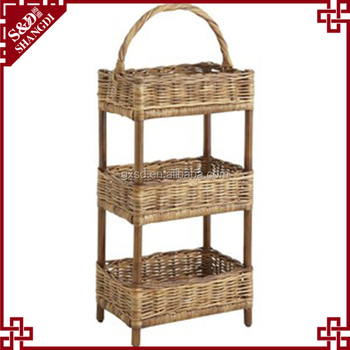 S D Wicker Hamper Rattan Natural 3 Layer Storage Basket Nursery Kitchen Bathroom