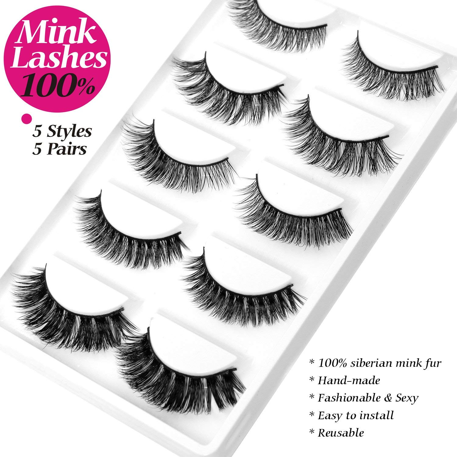 4b0f2c16b9e MINK 3D Lashes Thick Curly Fashion False Eyelash 5 Different Styles 5 Pairs  / Pack 100