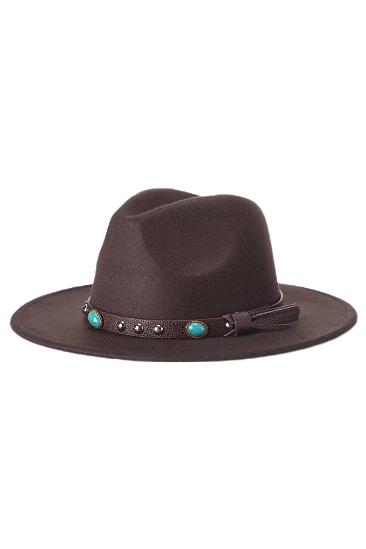 a99d1195526a5 Get Quotations · Lettre d amour Unisex Vintage Jazz Wide Brim Fedora Trilby  Hat Felt Cap With Belt