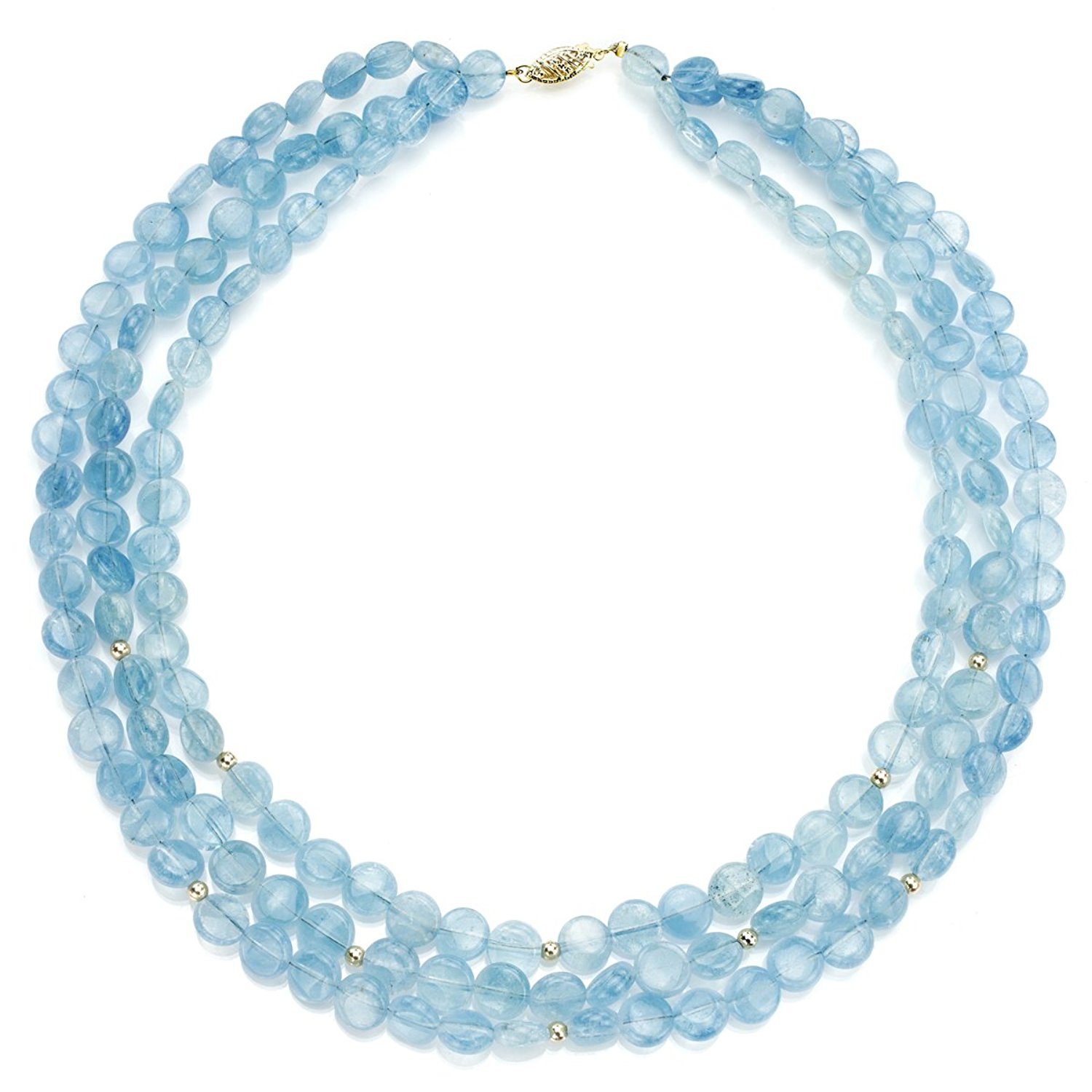 """La Regis Jewelry 14k Yellow Gold 3-Rows 8mm Simulated Aquamarine Gemstones with Rondell Necklace, 16"""""""