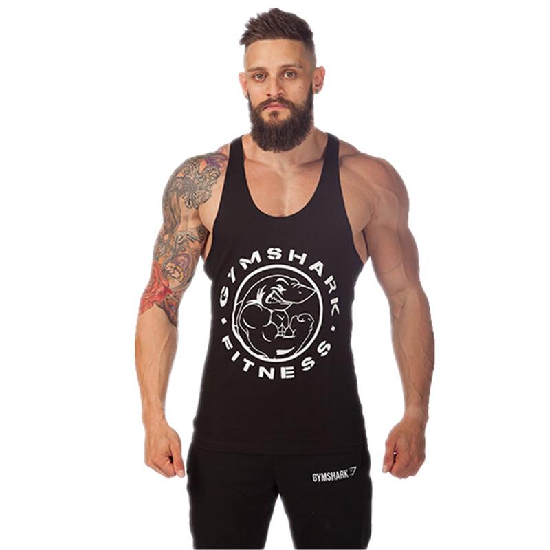 be8212dd Buy Yan GymShark Titan Stringer Tank Top Mens Gym Shark Brand Singlet Tops  Bodybuilding and Fitness Shirt Regatas Clothes Vest Men in Cheap Price on  ...