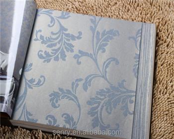 Parete Camera Da Letto Argento : Modello foglia non tessuto carta da parati blu argento per pareti