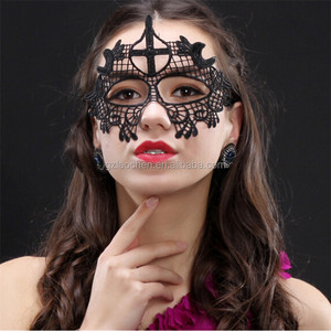 DHL Free halloween carnival adult sex fashion hen night party face mask black masquerade venetian mask lace eye mask