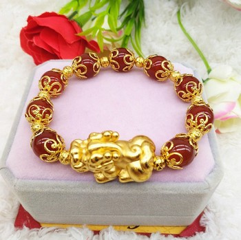 Bz001 Huilin Jewelry New Styles Natural Gold Plated Pi Xiu Bangle Feng Shui Bracelet