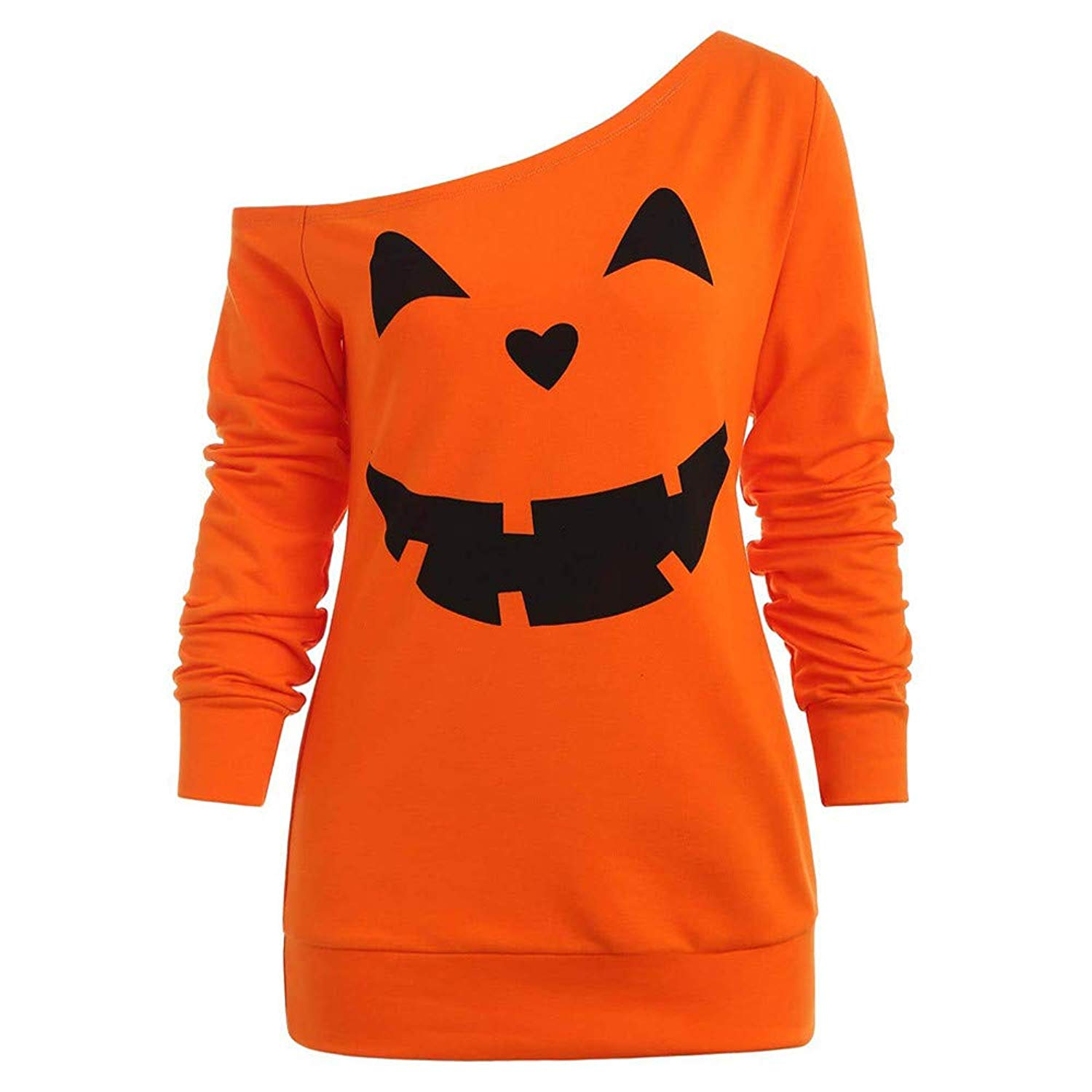 POTO Women Halloween Pumpkin Sweatshirt,Off Shoulder Print Shirt Long Sleeve Pullover Slouchy Tops Blouse T Shirts