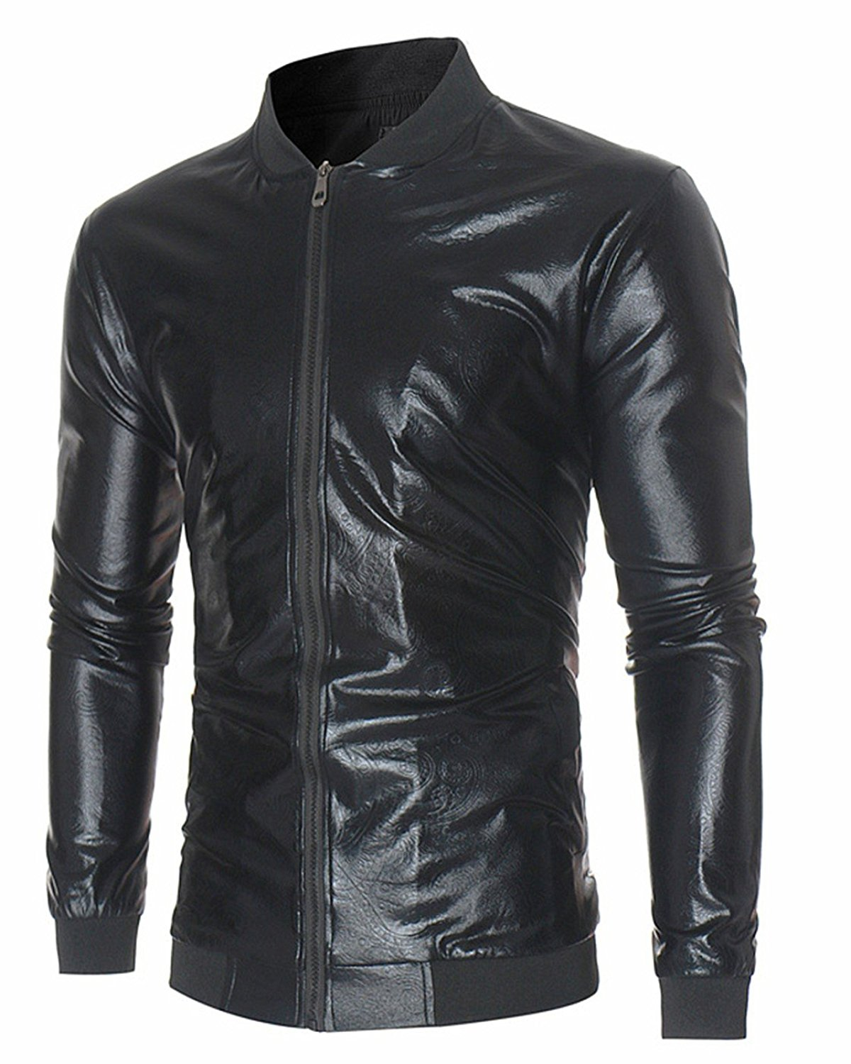 BEKTOME Womens Lightweight Faux Leather Long Sleeve Zip Up Bomber Jacket